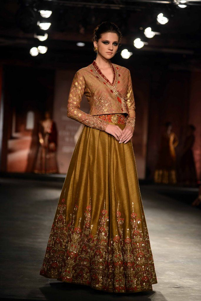 Mustard lehenga and blouse by Anju Modi for Delhi Couture week 2014.