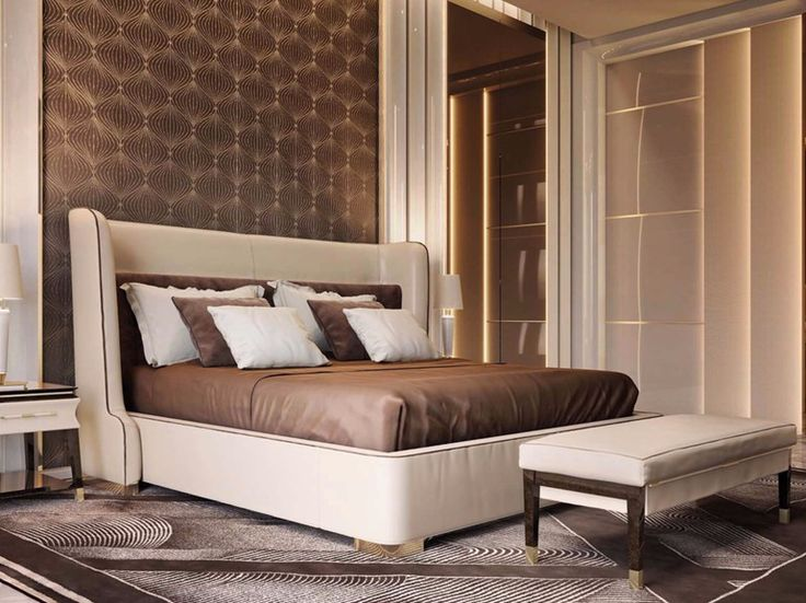 Leather double bed Noir Collection by Turri design Andrea Bonini
