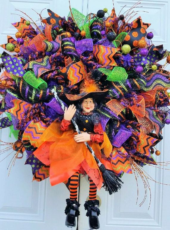 raz witch wreath halloween decor whimsical by studiowhimsybybabs - Raz Halloween Decorations