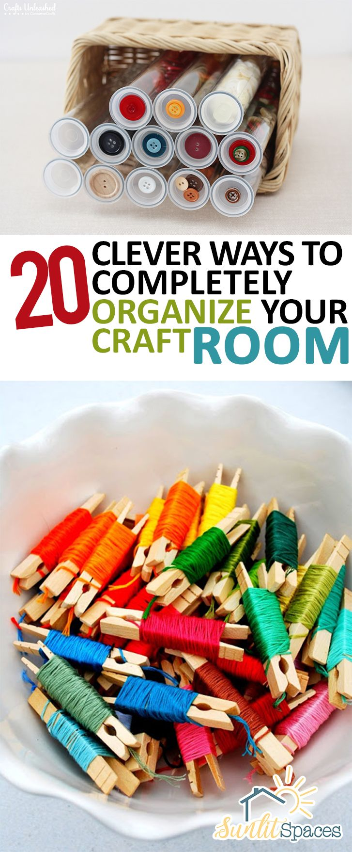 '20 Clever Ways to Completely Organize Your Craft Room...!' (via sunlitspaces.com)