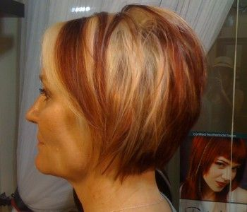 carmel+hair+with+red+and+blonde+highlights | red and blonde chunky highlights
