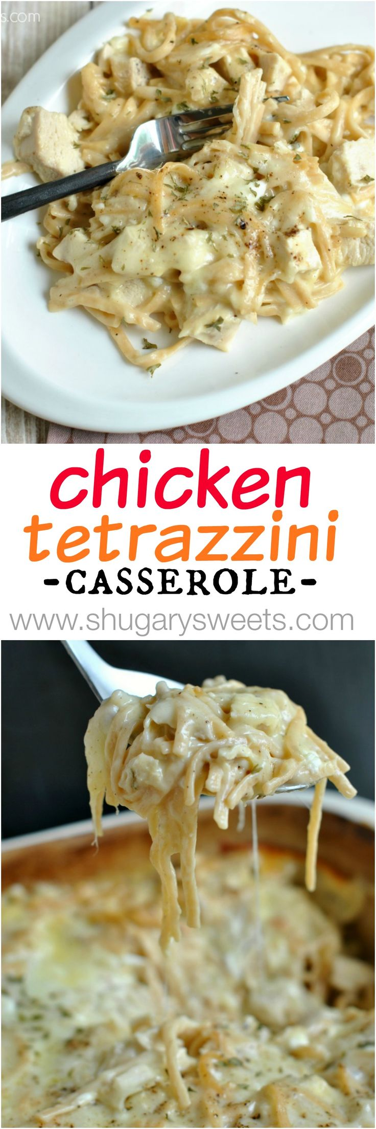 Chicken Tetrazzini. Very good. RECOMMEND. My changes: Baked at 325, not 300, did not cook noodles all the way-the baking finishes the cooking. This is very creamy!