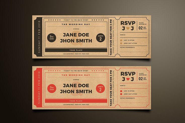 Wedding Invitation Movie Ticket by Vynetta on @creativemarket