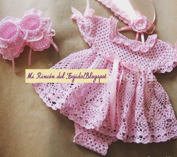 ❤ ✿ Mi Rincón del Tejido ✿ ❤: Vestido rosa para bebe con gráfico