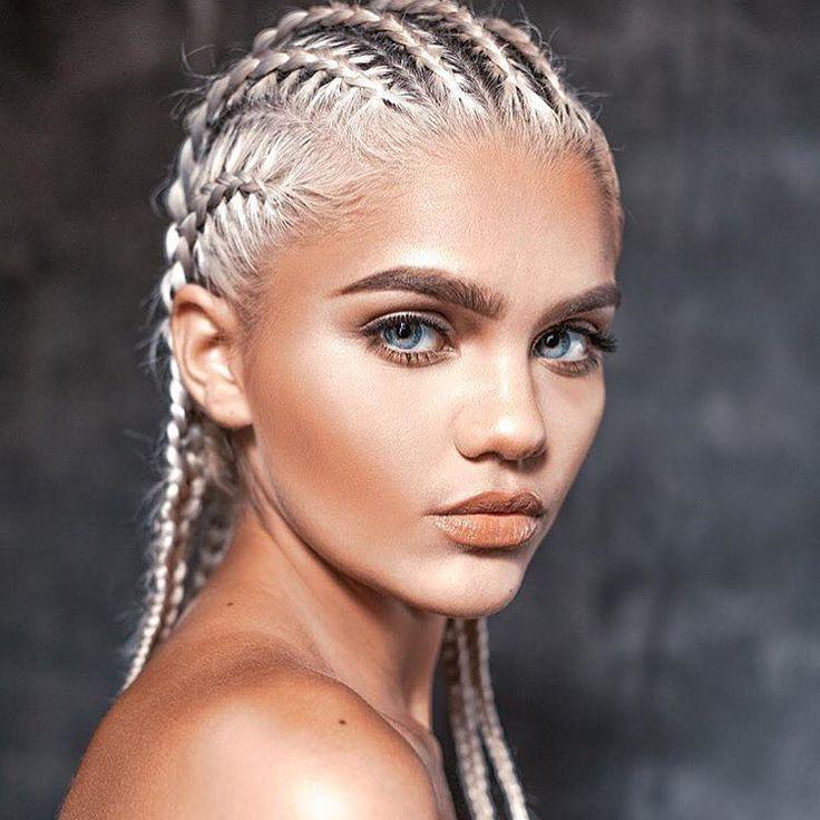 Platinum white, bleach blonde cornrow hair style. Peachy contour makeup with blue eyes. | Amina Blue. | anima.blue, zavierdeangelo, and fashionairy on Instagram.