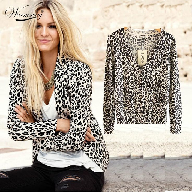 2017 New Women's Spring And Autumn Fashion Sexy Leopard Cardigan Sweater Slim Knitted Cardigan Jacket Outerwear WS-015