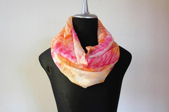 sciarpa seta tinta a mano/stole silk/sciarpa rosa arancione/scarf silk hand dyed/foulard silk/arashi shibori scarf/galaxy scarf/100%seta