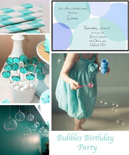 Bubble inspired lollipops Bubbles Birthday Party by finestationery, via Flickr