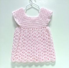 Crochet Pink Baby Dress Size 9 to 12 months