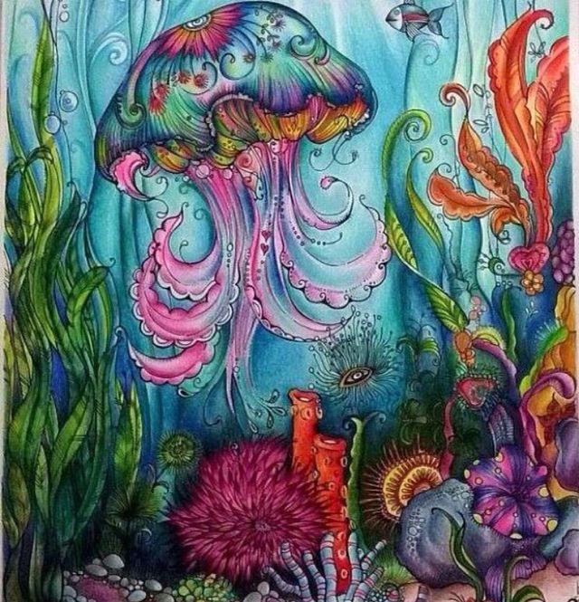 Coloring Pages Books Adult Colour Doodles Painted Living Water Book Colouring Pencils