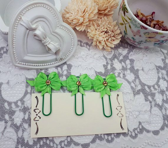 Mint green planner clips ribbon bows bookmarks green page