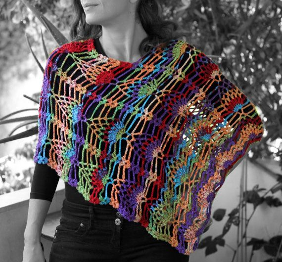 spring - summer poncho multicolored yarn by MmeDefargeYarnworks