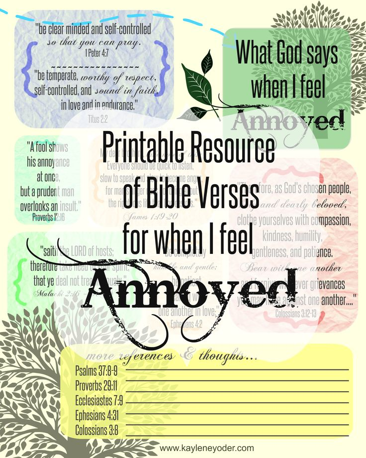 Free Printable resource of Bible verses for when I feel annoyed. Do not be quickly provoked in your spirit... Ecclesiastes 7:9