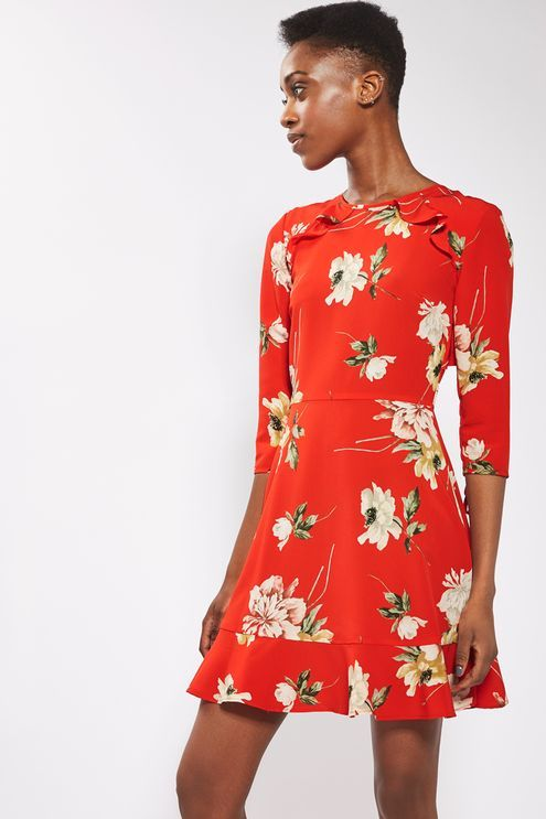 TALL Paint Floral Tea Dress - Topshop