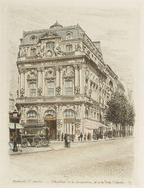 hand colored etchings    Boulevard Saint-Martin - Théâtres de la Renaissance et de la Porte Saint Martin 1877 by peacay, via Flickr