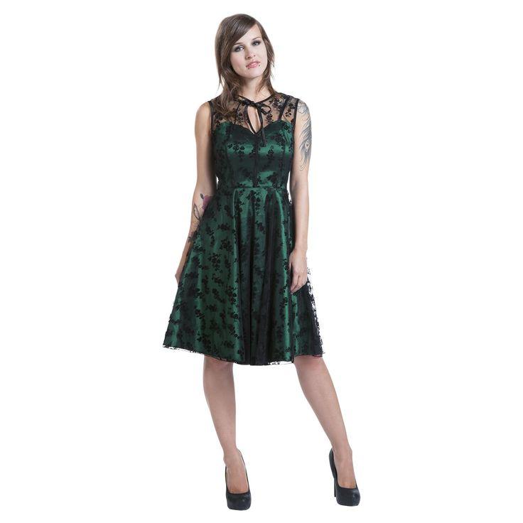 """#Abito """"Emerald"""" del brand Voodoo Vixen smanicato con pizzo 100% poliestere, parte sottostante color verde smeraldo e cerniera laterale. lu.: 100 cm."""