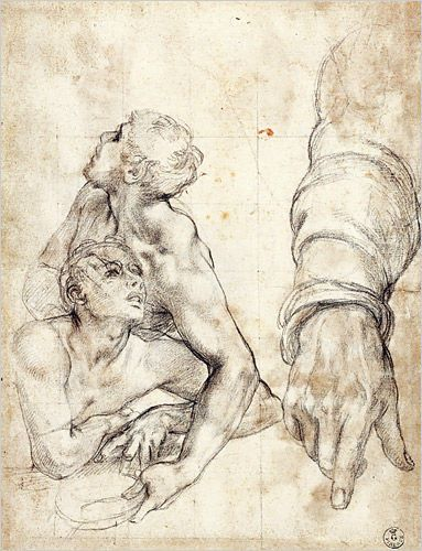 """Agnolo Bronzino (Agnolo di Cosimo di Mariano Tori) (Italian, Monticelli 1503 - 1572 Florence), """"Reclining Figures and Studies of an Arm and Hands for Moses Striking Water from the Rock,"""" circa 1542-43."""