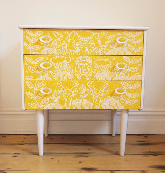 Mid Century Upcycled Chest of Drawers for Nursery - Sunshine Yellow