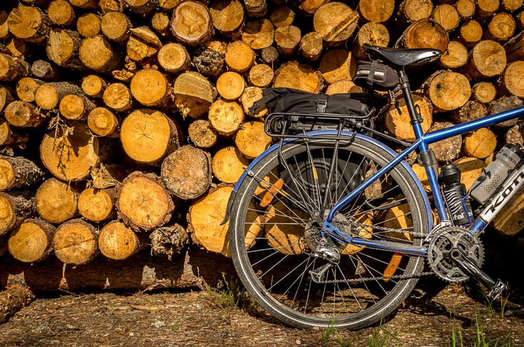 My old bike next to some cut down trees. The Ortlieb pannier was sticky from sap for weeks afterwards.