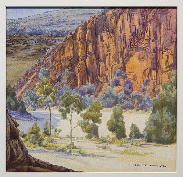 Albert NAMATJIRA Arrernte people Australia 1902 – 1959 Glen Helen, First Gap, Finke River c.1948 Hermannsburg, Northern Territory, Australia drawings, watercolour, paper; watercolour Technique: painting in watercolour Primary Insc: Signed lower right image 36.0 h x 38.0 w cm Gift of Gordon and Marilyn Darling, celebrating the National Gallery of Australia's 25th Anniversary, 2009 Accession No: NGA 2009.991