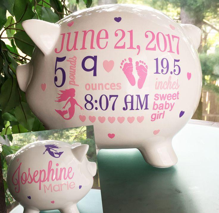 Personalized Piggy Bank,  Custom Baby Piggy Bank, Mermaid Baby Girl, Toddler Girl Gift, Baby Stats Piggy Bank,  New Baby Gift, Baby Bank by BubbieRed on Etsy