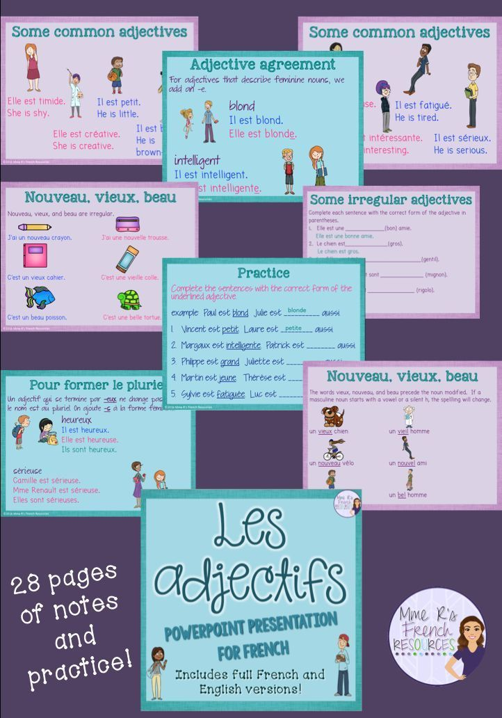 This 28 page PowerPoint presentation is perfect for teaching French adjectives to beginners. Full of images to help visual learners, grammar rules of agreement, placement, and irregular adjectives are fully explained. There are a number of pages that you can use as bellwork, for exit tickets, or for group speaking practice. All answers on practice pages are available as animation when you click through the show. You also get a fun dice game.  Click here to see more!