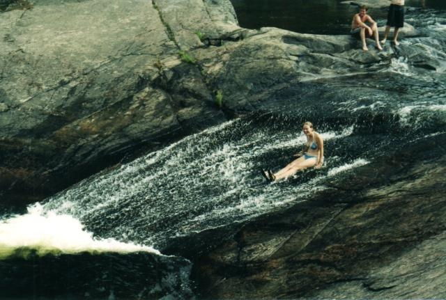 Barron Canyon natural waterslide in Algonquin Park