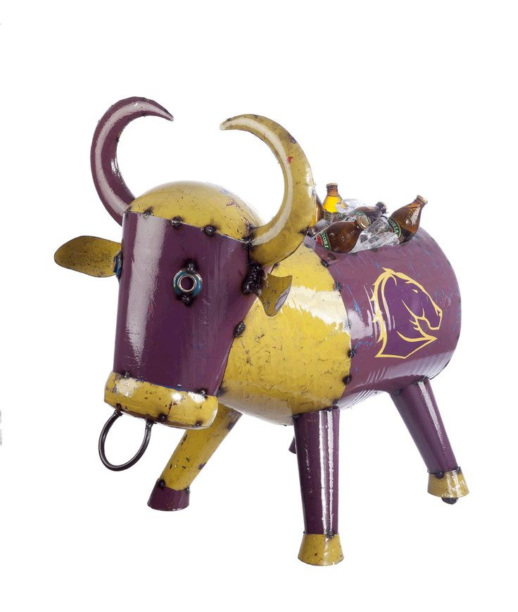 No Bull Coolers - NRL Brisbane Broncos Bruce the Bull Cooler Outdoor Metal Animal Art from Earth Homewares