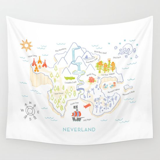 Neverland+Map+Color+Wall+Tapestry+by+Merlin+-+$39.00