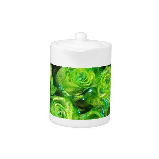 Romantic Love Green Valentine Glitter Roses