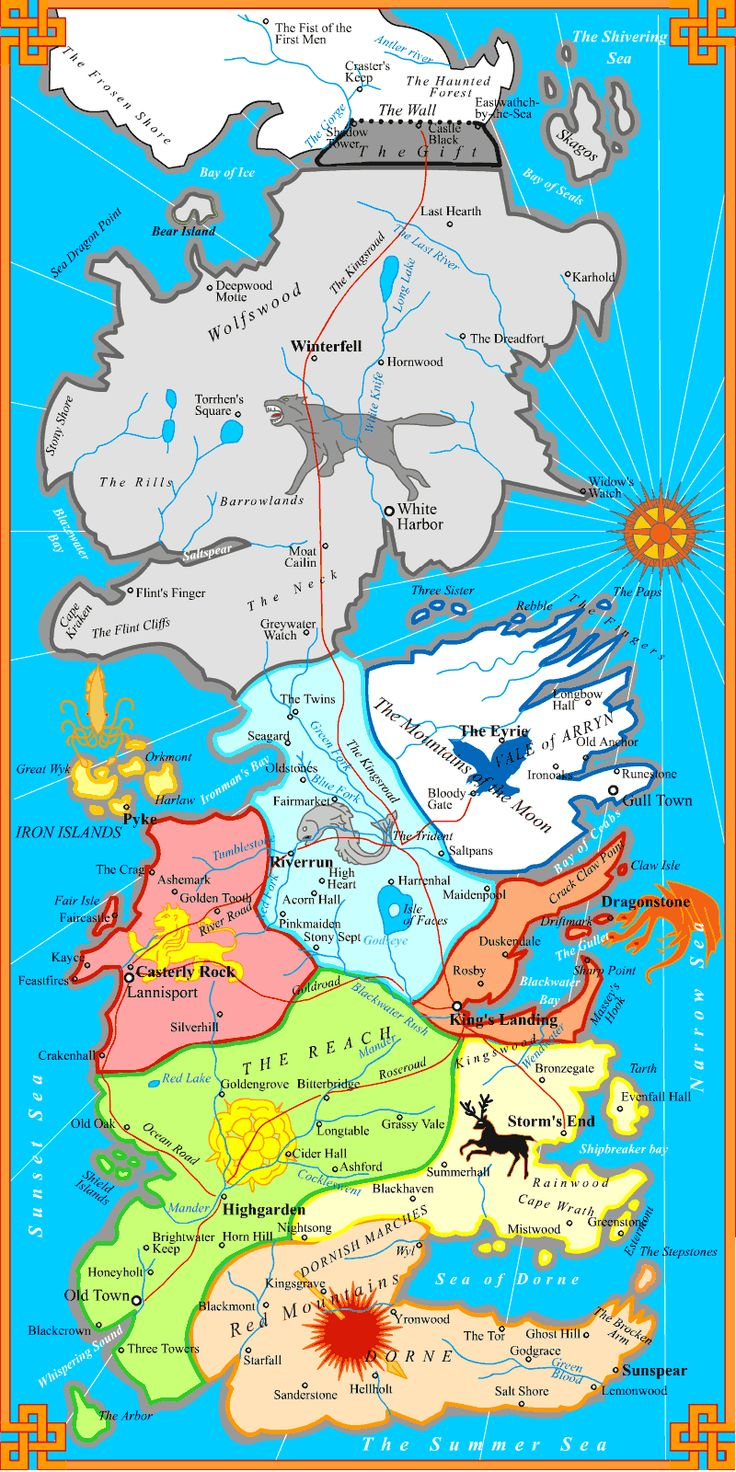 "Map of The Seven Kingdoms of Westeros, As depicted in George R.R. Martins Fantasy Epic ""A Song of Ice and Fire."" Pretty nifty."