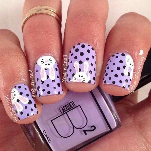 Purple polka dot and bunny nail design