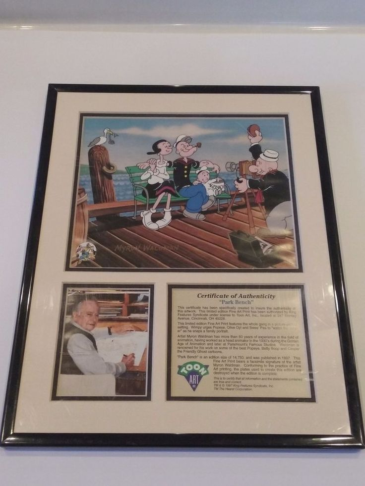 """This limited edition Fine Art Print features the gang in a picture-perfect setting. Wimpy urges Popeye, Olive Oyl, and See' Peas to """"watch the hamburger"""" as he snaps a family portrait. Artist Myron Waldman has more than 60 years of experience in the field of animation, having worked as head animator in the 1930's during the Golden Age of animation and later at Paramount's Famous Studios. 