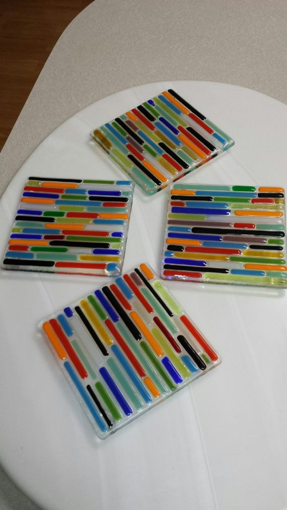 Fused Glass Coasters by ViettaNoriega on Etsy