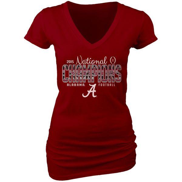 Alabama Crimson Tide Blue 84 Women's College Football Playoff 2015 National Champions Dyed V-Neck T-Shirt - Crimson - $18.99