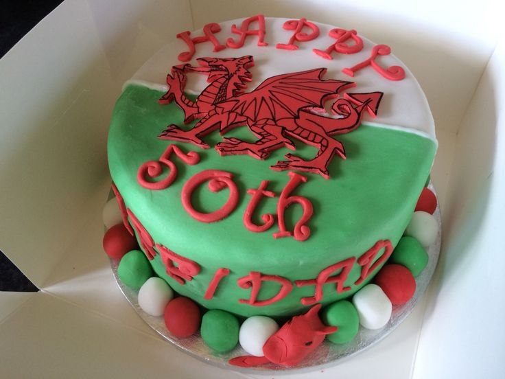 Round Welsh Flag 50th Birthday Cake With Fondant Dragon