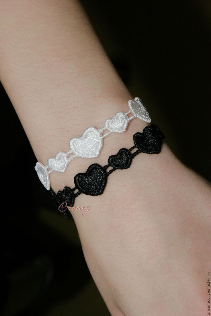 Buy bracelets Black and white embroidered heart lace openwork bracelet with embroidery