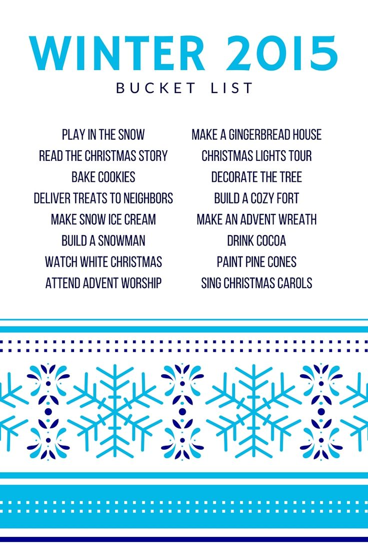 2015 Winter Bucket List for Families (including Advent and Christmas activities)