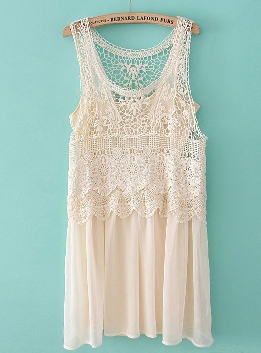 Beige Sleeveless Lace Crochet Chiffon Dress - adorable!!!