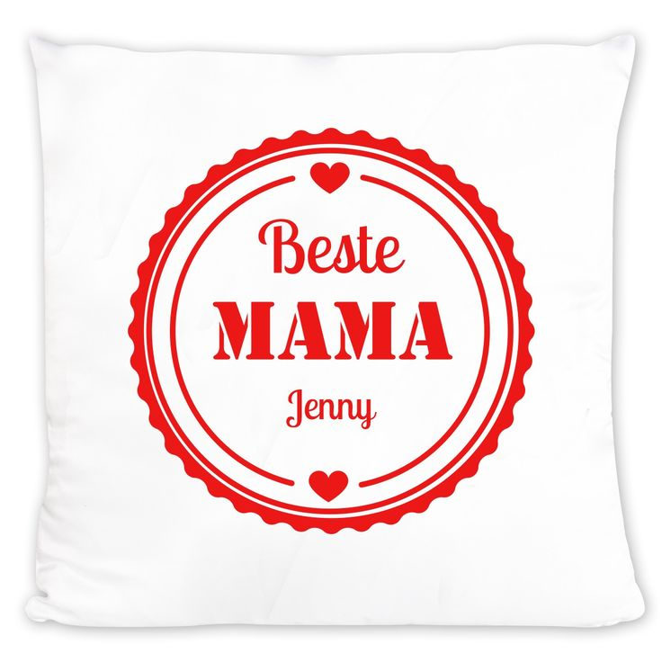 """Mama ist die Beste? Dann sollten Sie ihr das auch zeigen! Nicht nur der Muttertag ist ideal, um Ihrer Mutter eine Freude zu machen, zum Beispiel, indem Sie ein persönliches Kissen bedrucken lassen. Das Design """"Beste Mama"""" zum Stolz-drauf-Sein und Knuddeln wird der besten Mama von allen sicher mehr als einen Tag versüßen. Klasse Geschenkidee!"""