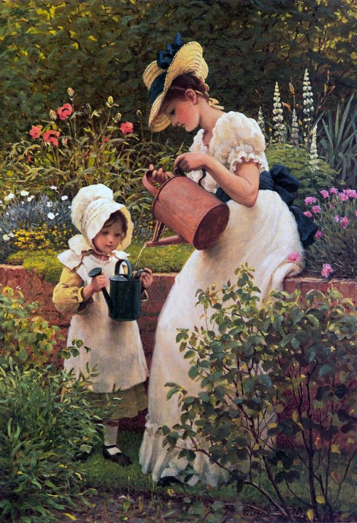 """Art by George Dunlop Leslie (1889) - """"The Young Gardener."""""""