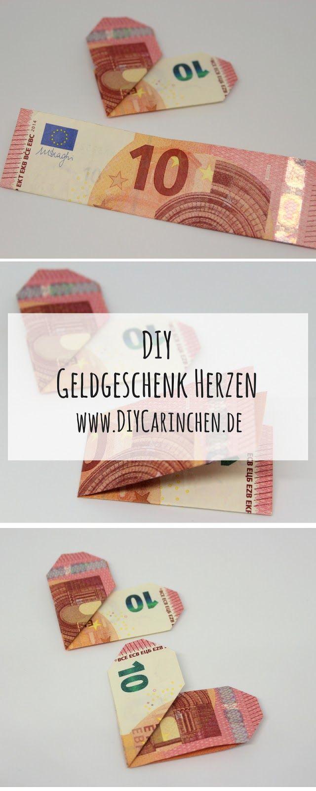 DIY Geldgeschenk Herzen nach Origami Art - die perfekte Geschenkidee ...
