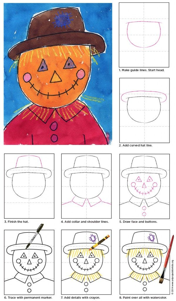 How to Draw a Scarecrow Face | Art Projects for Kids
