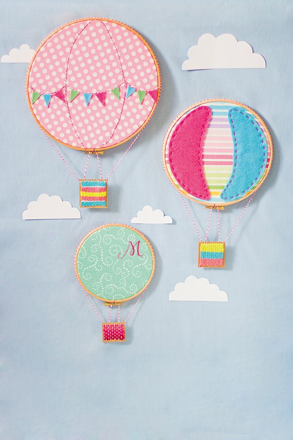 Hoop art ideas | Hoop hot air balloons.  Gift idea for mary