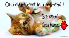 On relaxe... c'est le week-end ! Bon samedi. Gros bisous #jepenseatoi chat chaton mignon coeurs bisou week end