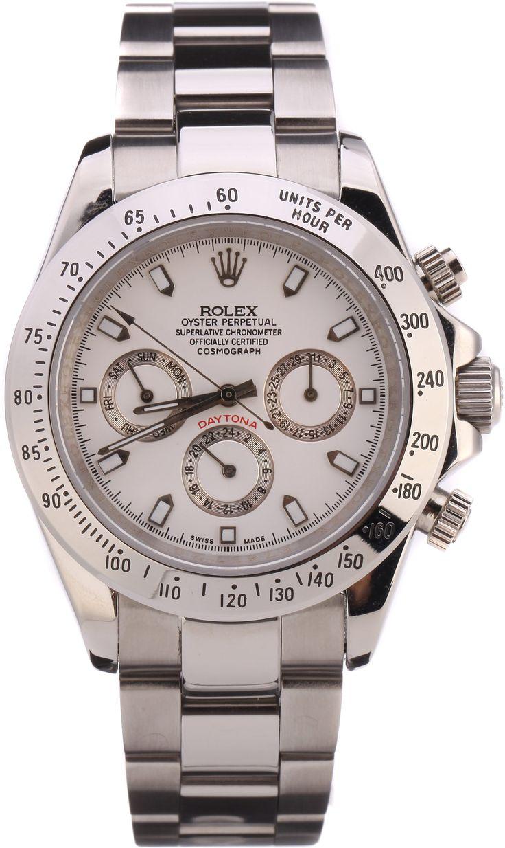 Часы Rolex Daytona серебряные, белый циферблат