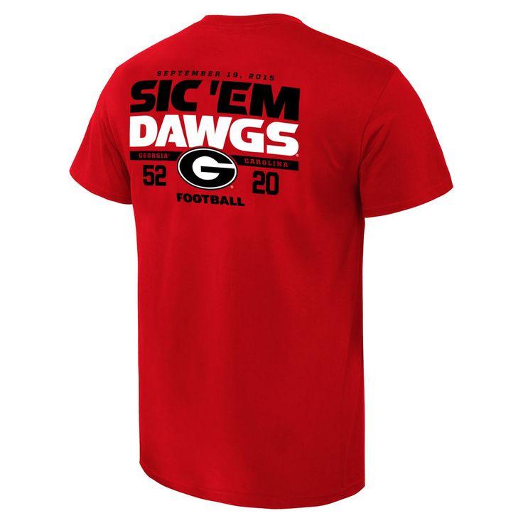 Georgia Bulldogs vs. South Carolina Gamecocks 2015 Score T-Shirt - Red