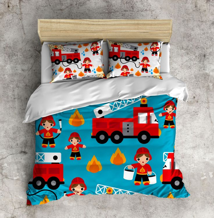 My 1st Big Boy Bed Set!  Fireman Bed Set, Firetruck Bedding, Toddler Bedding, Kids Bed Set, Little Boy Bedding by InkandRags on Etsy https://www.etsy.com/listing/236129360/my-1st-big-boy-bed-set-fireman-bed-set