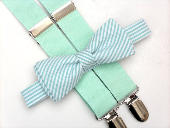Mint bow tie and suspenders mint wedding mint by LilGents on Etsy