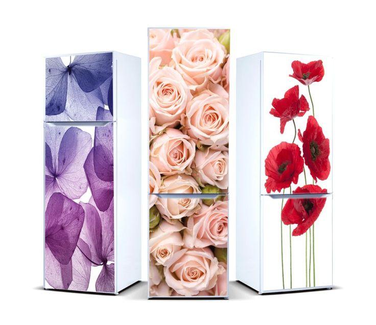 naklejki z kwiatami na lodówkę